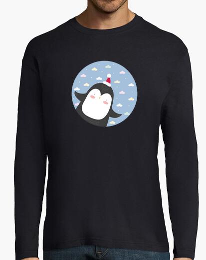 Pingüino de la navidad - volar alto! el hombre de la manga larga camiseta