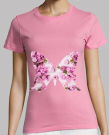 pink butterfly, flowers woman, manga short, pink shirt, premium quality