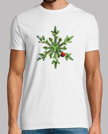 pino nevado copo de nieve navidad