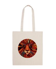 pintura artistica de león colorida - bandolera