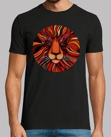 pintura artistica de león colorida - camiseta hombre