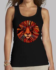 pintura artistica de león colorida - camiseta mujer sin mangas