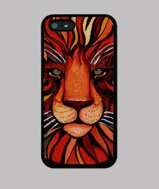 pintura artistica de león colorida - funda iPhone5