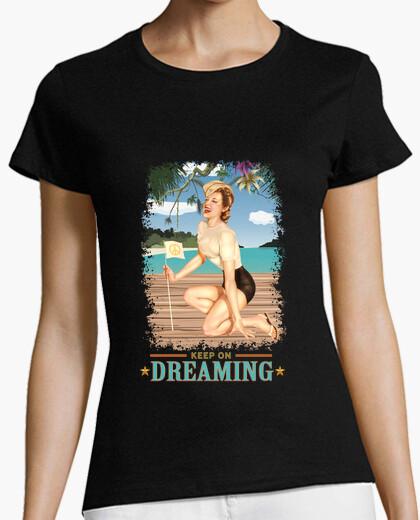 T-shirt pinup - spiaggia - ancora sognando - vintage