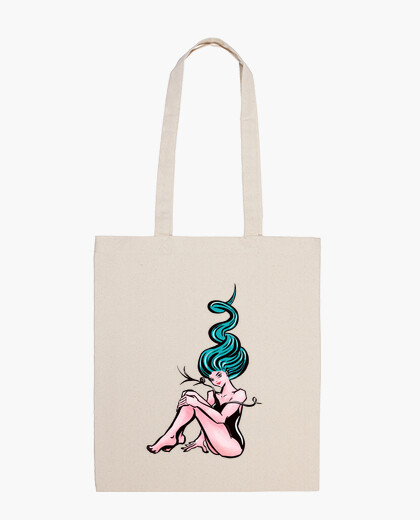 Pinup Girl With Wavy Blue Hair bag