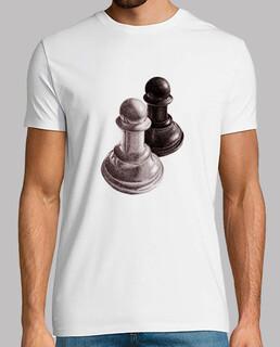 pions d'échecs noir et blanc t-