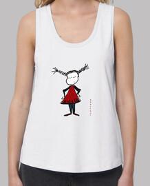 Pippi Mujer, tirantes anchos & Loose Fit, blanca