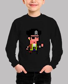 Pirata. Pixel art. Niño