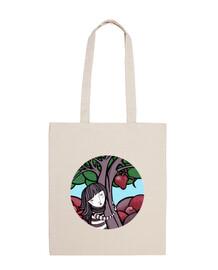 pittura mamma natura - abbraccio, albero, cuore - borsa a tracolla 100% cotone