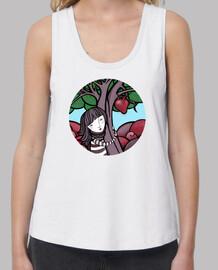 pittura mamma natura - abbraccio, albero, cuore - donna, bretelle larghe e vestibilità ampia, bianca