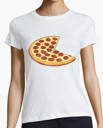 Camiseta Pizza - Mujer, manga corta, blanca, calidad premium