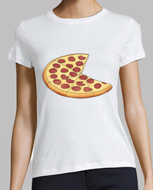 pizza - woman, short sleeve, white, premium quality