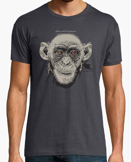 Camiseta Planeta Tierra - Mono en gris