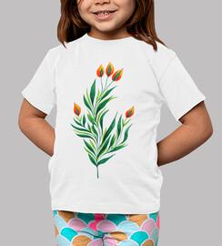 planta verde con brotes de naranja