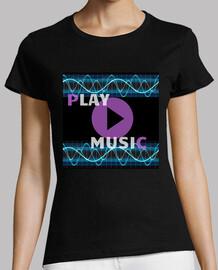 PLAY MUSIC Mujer, manga corta, negra, calidad premium