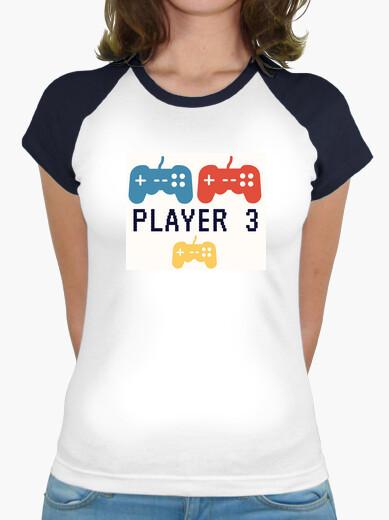 Camiseta Player#3,videogame.embarazo,Mujer, estilo béisbol, blanca y azul marino