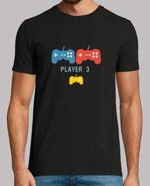 player video game Hombre, manga corta, negra, calidad extra