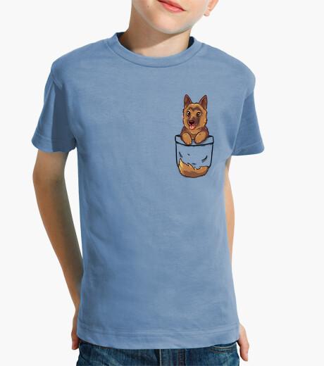 Vêtements enfant poche berger allemand mignon - chemise enfant
