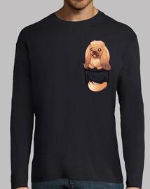 poche chien pekingese mignon - chemise à manches longues pour hommes
