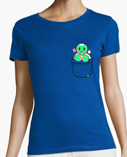 Tee-shirt poche jolie tortue - chemise femme
