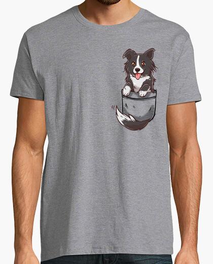 Tee-shirt poche mignon chien border collie - chemise homme