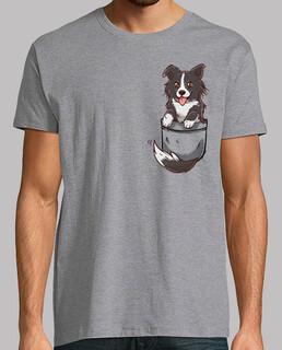 poche mignon chien border collie - chemise homme