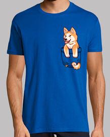 poche mignon chiot akita - chemise pour homme
