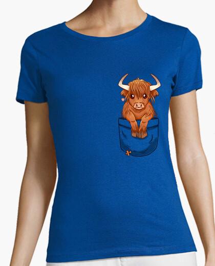Tee-shirt poche mignonne écossaise highland vache - chemise womans