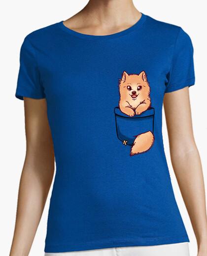 Tee-shirt poche mignonne pomeranian - chemise de womans