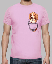 pocket cute beagle - mens shirt