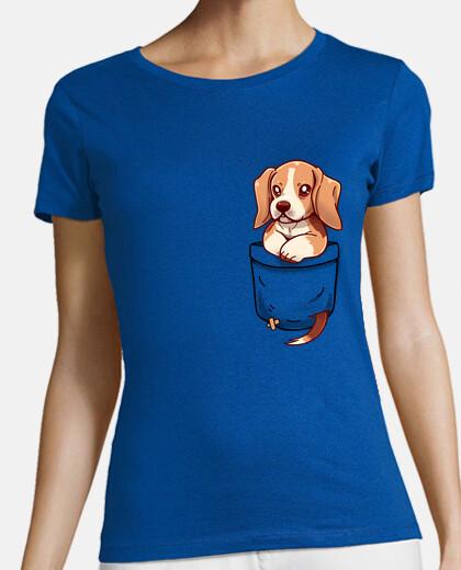 pocket cute beagle - womans shirt