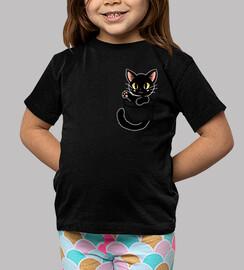 pocket cute black cat - kids shirt