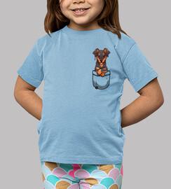pocket cute dobermann dog - chemise enfant