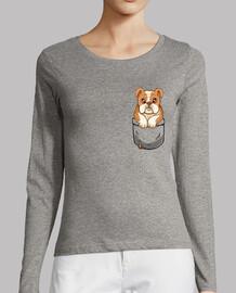 Pocket Cute English Bulldog - Womans Long Sleeve