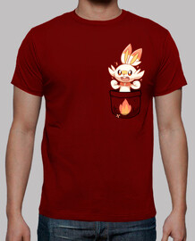 pocket cute fire bunny - mens shirt