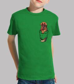 pocket cute leonberger dog - camisa para niños