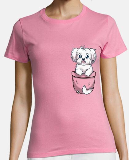 pocket cute maltese dog - womans shirt