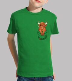 Pocket Cute Scottish Highland Cow - Kids shirt