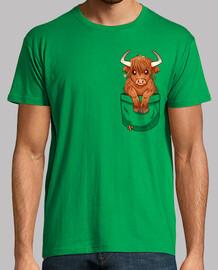 pocket cute scottish highland cow - mens shirt