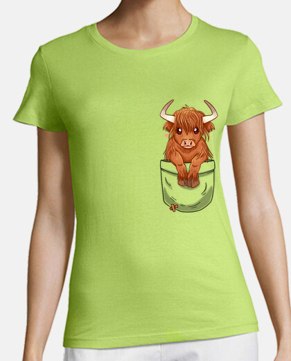 Pocket Cute Scottish Highland Cow - Womans shirt