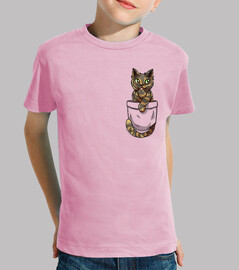 pocket cute tortoiseshell cat - kids shirt