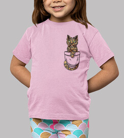 pocket cute tortoiseshell cat - kids shirt