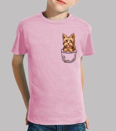 pocket cute yorkie yorkshire puppy - kids shirt