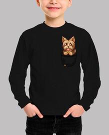 pocket cute yorkie yorkshire puppy - kids shirt