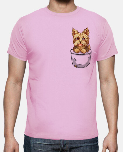 Pocket Cute Yorkie Yorkshire Puppy - Mens shirt