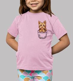 pocket cute yorkshire yorkshire puppy - maglietta per bambini