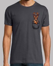 pocket simpatico cane dobermann - camicia da uomo