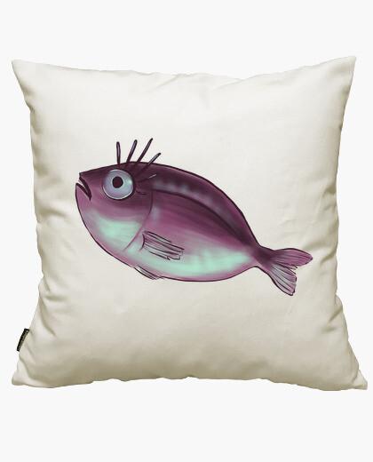 Housse de coussin poisson drôle avec des cils de fantaisi