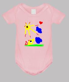 Pollito al sol - Body bebé, rosa