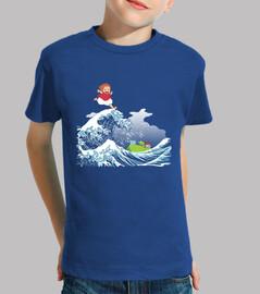 Ponyo and the Kanagawa Great Wave kids t shirt